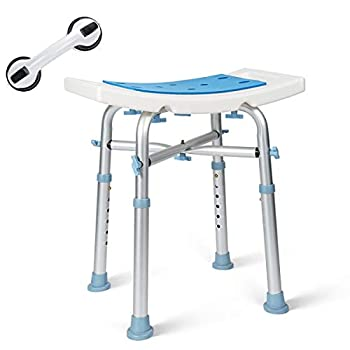OasisSpace Heavy Duty Shower Chair 500lb Padded Bath Seat with Free Assist Grab Bar - Medical Tool Free Anti-Slip Shower Bench Bathtub Stool Seat for Elderly Senior Handicap & Disabled