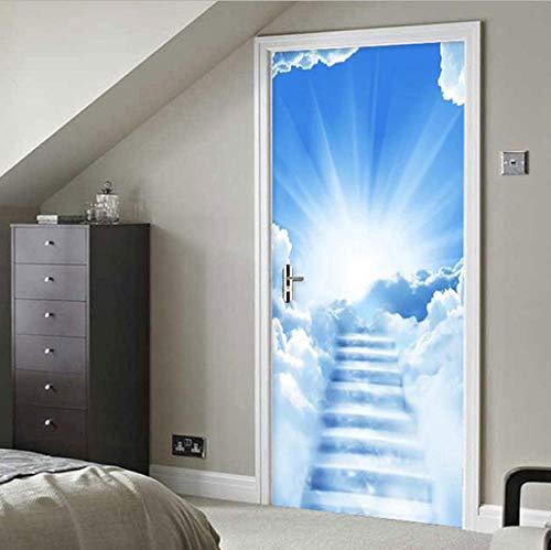 lege 3d deur sticker behang dieren Boven de ladder deco deur poster deur foto glas binnendeuren slaapkamer
