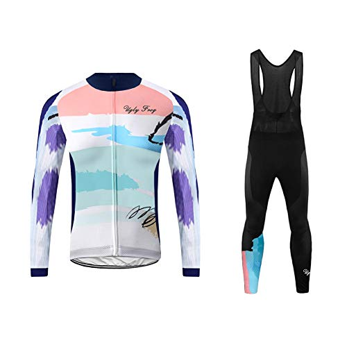 Uglyfrog Winter Fleece Men Cycling Clothing Set Sportswear Road Mountain Bicycle Bike Outdoor Full Zip Long Sleeve Cycling Jersey + 3D Padded Pants Trousers Breathable Quick-Dry HUSChangXDK19