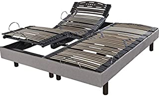 EBAC Literie Lit électrique 2x80x200 Relax Confort Lin
