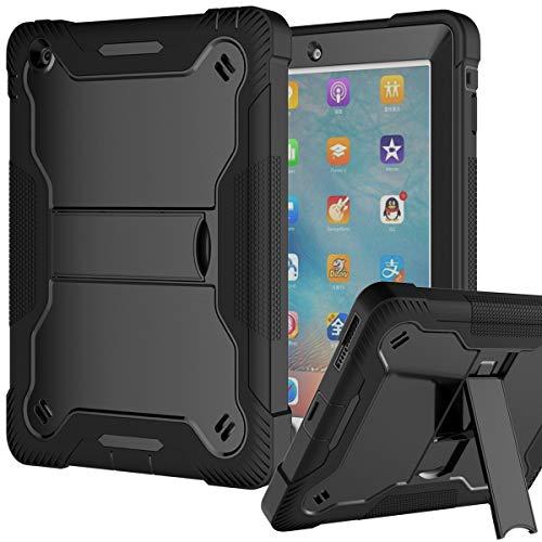 iPad 2 Case, iPad 3 Case, iPad 4 Case, Fingic Kickstand Heavy Duty Rugged Shockproof High Impact Case Hybrid Three Layer Armor Full Body Protective Case Cover for iPad 2nd/3rd/4th Generation, Black