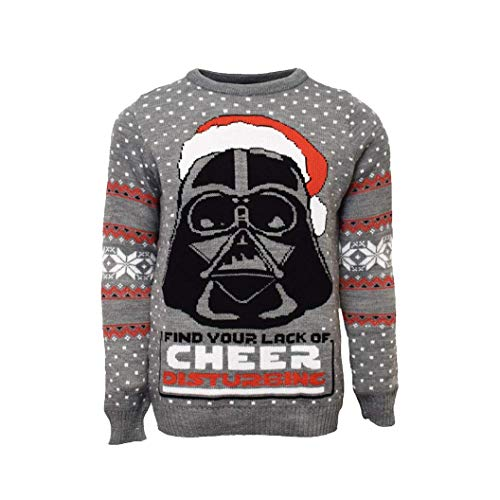Numskull Unisex Official Star Wars Darth Vader Knitted Christmas Jumper for Men or Women - Ugly Novelty Sweater Gift Grey
