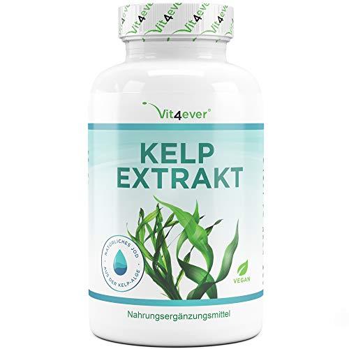 Kelp Extrakt (Natürliches Jod) - 365 Tabletten mit je 150 µg Jod aus Braunalgen - 12 Monatsvorrat - Laborgeprüft - Ohne unerwünschte Zusätze - Hochdosiert - Vegan