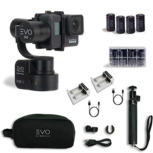 EVO SS 3 Axis Wearable Gimbal - Stabilizer for GoPro Hero4, Hero5, Hero6, Hero7 Black, Yi 4K, Garmin Virb Ultra 30 - Bundle Includes EVO SS Gimbal, Extra Batteries, Extra Charger (3 Items)
