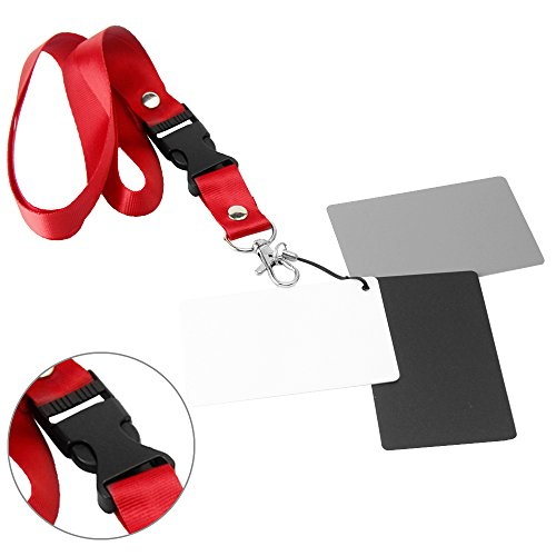 pangshi White Balance Card 18% Gray Grey Card Set with Lanyard Compatible with Digital Video, DSLR and Film Exposure Photography - Large Size (4x5 Inches)