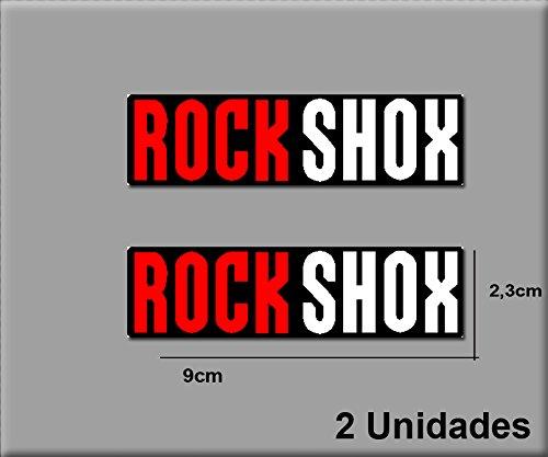 Ecoshirt QS-OQ3U-O0XH Aufkleber Rock Shox R145 Vinyl Adesivi Decal Aufkleber Polyurethan(n) MTB Stickers Bike, schwarz rot weiß