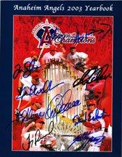 Signed Angels, Anaheim (2002) 2003 Angels Yearbook (2002 World Series Champions - Darin Erstad, Adam Kennedy, Tim Salmon, Garret Anderson, Jarod Washburn, Troy Glaus, Troy Percival, David Eickstein, Scott Spiezio and Mike Scioscia) 10 Signatures in all autographed