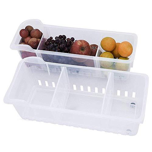 Organizador de Almacenamiento 2 Pcs- Almacenamiento para refrigerador -(40cmx12cmx16cm)- Organizador de Alimentos - Cestas de Plastico - Duradero Contenedores Apilables para Cocina, Despensa, Nevera