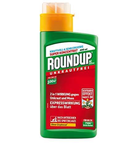 Roundup AC Unkrautvernichter Konzentrat, gegen Unkräuter, Gräser und Moos, Ohne Glyphosat, bis zu 500m², 400 ml