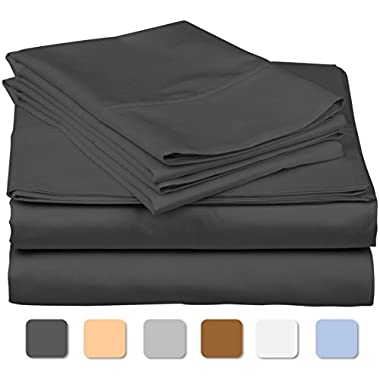 600 Thread Count 100% Long Staple Soft Egyptian Cotton SheetSet, 4 Piece Set, KING SHEETS,upto 17  Deep Pocket, Smooth & Soft Sateen Weave, Deep Pocket, Luxury Hotel Collection Bedding, DARK GREY