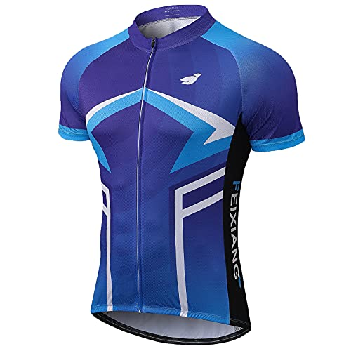 FEIXIANG Magliette Ciclismo Uomo, Maglia Ciclismo Maniche Corte Full Zipper Mountain Bike Maglia Quick Dry Mountain T-Shirt Biking