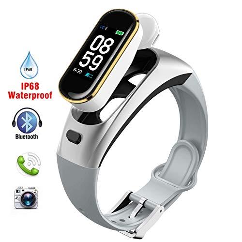 WXYIN 2-in-1-Fitness-Armband Activity Tracker Bluetooth-Headset Smartwatch mit Echtzeit-Herzmonitor, Schlafmonitor, Erinnerungsfunktion,Silver