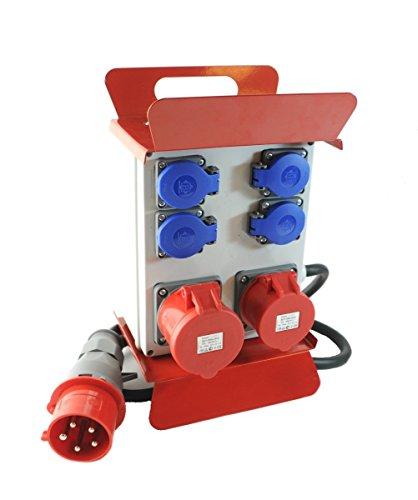 Mobiler Baustromverteiler/Standverteiler 4 x 230V/16A Schuko & 1 x CEE 16A/400V & 1 x CEE 32A/400V verdrahtet mit Zuleitung