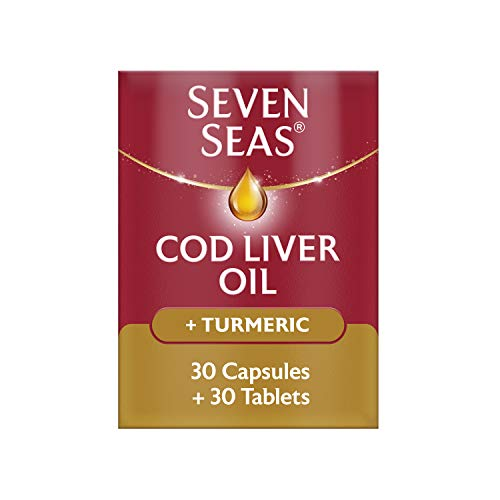 Cod Liver Oil Plus Turmeric by Seven Seas, Omega-3 Supplement Supporting Brain, Heart, Vision, With Vitamin D, Plus Turmeric, 30 Capsules + 30 Tablets