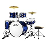 Eastar 22 inch Drum Set Kit Full Size for Adult Junior Teen 5 Piece with Cymbals Stands Stool and Sticks, Metallic Blue