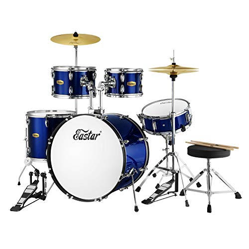 Drum Set Eastar 22 inch Drum Sets for Adults 5 Piece Drum Kit Full Size Junior Teen Beginner Drum Set with Pedal Cymbals Stands Stool and Sticks, Metallic Blue