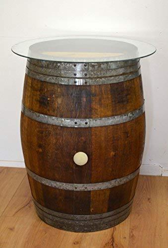 Temesso Dekofass, Stehtisch aus echtem Weinfass, Gartentisch mit Glas -Tischplatte D80cm - Fass in verschiedenen Variationen (Fass Natur geölt)