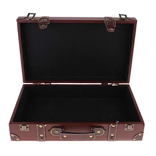 F Fityle Dekokoffer/Minibar/Vintage Koffer Holzkoffer Holzleisten - Braun