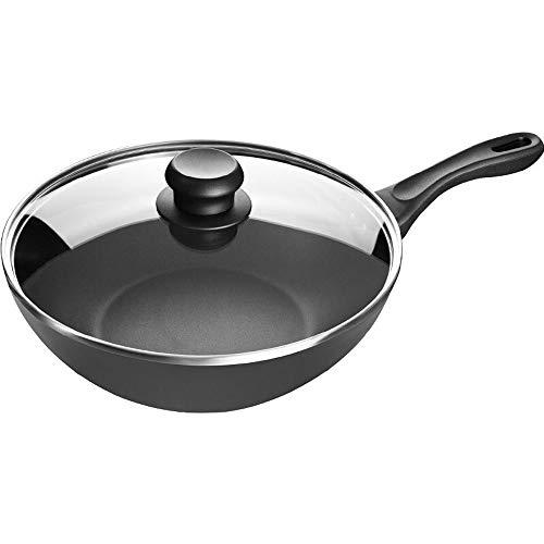 QuRong braadpan 30 cm huishouden braadpan Chinese wok antiaanbakpan met deksel voor huis restaurant om te koken