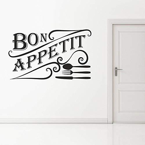 HGFDHG Bon Appetite, calcomanía de Pared, Palabra Francesa, vajilla, Puertas y Ventanas, Pegatinas de Vinilo, Restaurante, Cocina, Comedor, decoración de Interiores, Mural