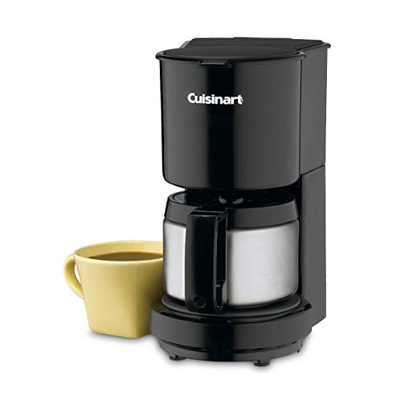 Cuisinart DCC-450BK 4-Cup Coffeemaker with Stainless-Steel Carafe, Black 5 4-Cup Stainless-steel carafe with dripless pour spout and knuckle guard Brew-pause feature lets you enjoy a cup of coffee before brewing has finished 30 minute automatic shutoff and convenient ON indicator light. BPA Free.UC Cubic Feet: 0.37
