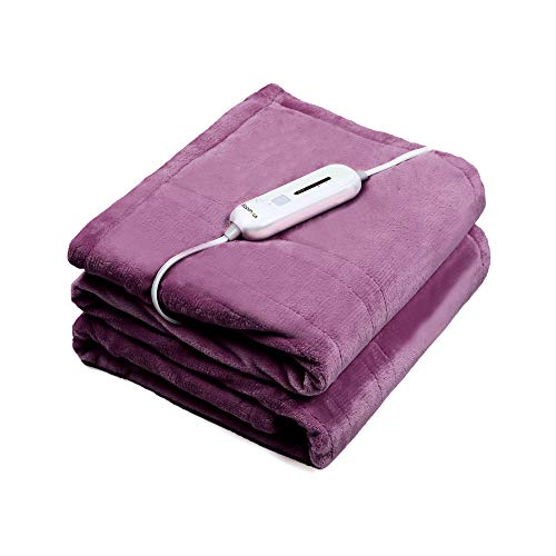 WAPANEUS Foot Pocket Heated Blanket Electric Throw with 3 Heating Levels and Auto Shut Off, Flannel...