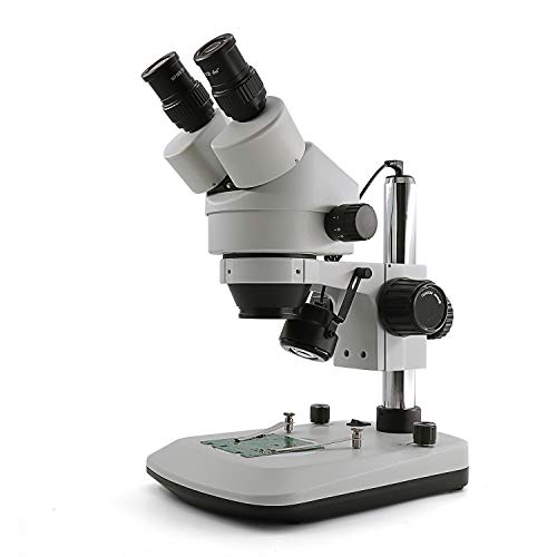 Swift S7-BL Professional Binocular Zoom Stereo Microscope, WF10X Eyepieces,7X-45X Magnification, Upper and Lower LED Light, Table Pillar Stand,110V-120V