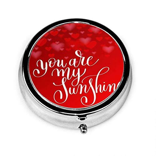 Caja redonda de píldoras con caja de píldoras de viaje de 3 compartimentos Eres mi sol Cita de letras sobre el amor