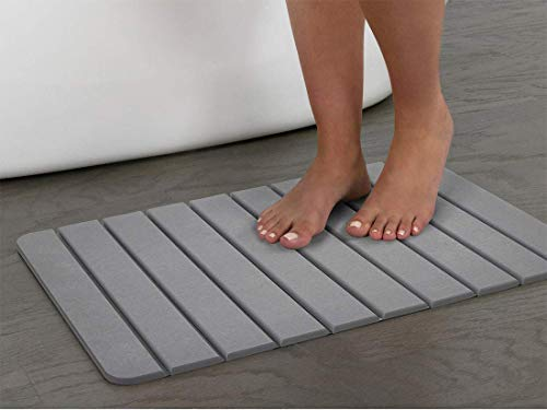"""EXCELL Drystone Slat, Bathroom Floor Non-Slip Absorbent, Quick Drying and Anti-Microbial Bath Mat, 15.35"""" X 23.62"""", Grey"""
