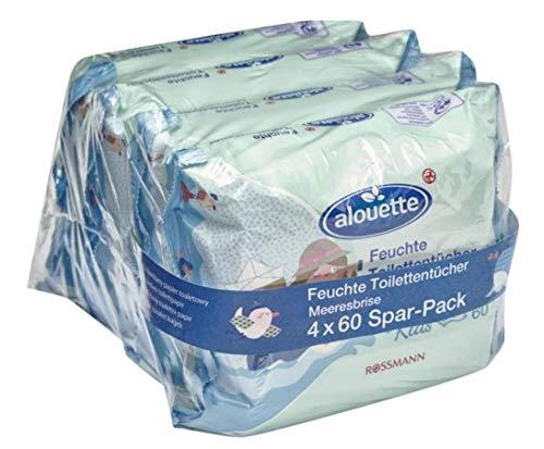 Preisvergleich Produktbild alouette feuchte Toilettentücher Meeresbriese Kids Spar-Pack mit Kamille und Aloe Vera Extract,  4 Pack à 60 Tücher