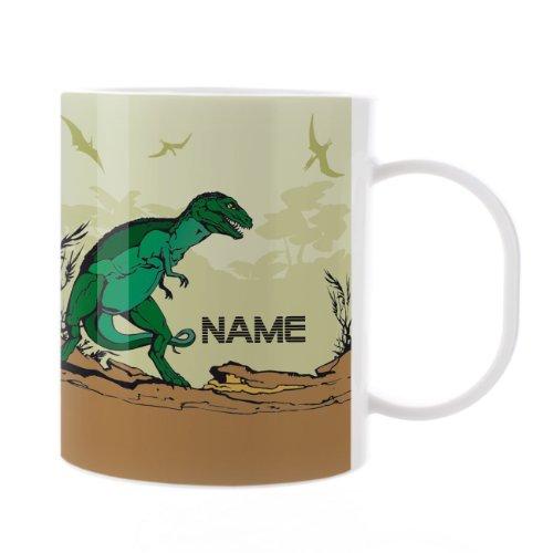 Striefchen® Kinder Tasse aus Kunststoff mit Wunschnamen - Motiv: Dinosaurier
