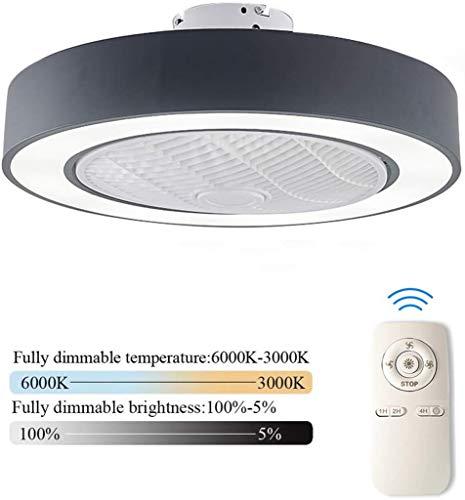 LED Plafondventilator Met Verlichting En Afstandsbediening Stille Fan Plafondlamp Dimbaar Met Afstandsbediening 3 Standen Verstelbaar Moderne Slaapkamer Onzichtbare Kinderkamer Ventilator,Black