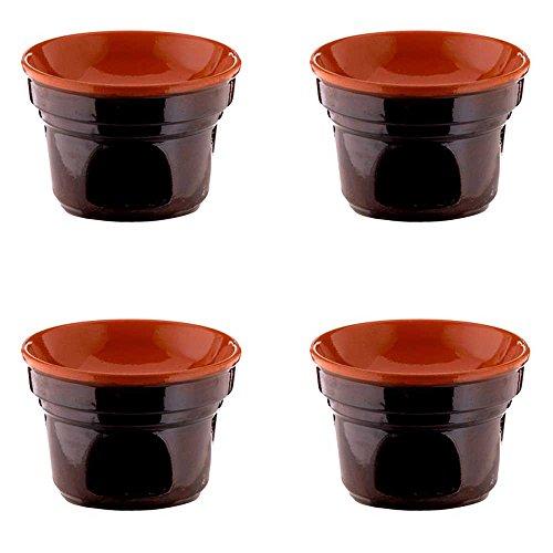 TERRE D'UMBRIA - Cuencos para bagna cauda (plato regional del Piamonte), de cerámica, 14 cm, color marrón, 4 unidades