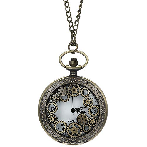 Find Cheap Muranba 2019 ! Vintage Flower Pocket Watch Quartz Necklace Chain Men Women for Girls Gift...