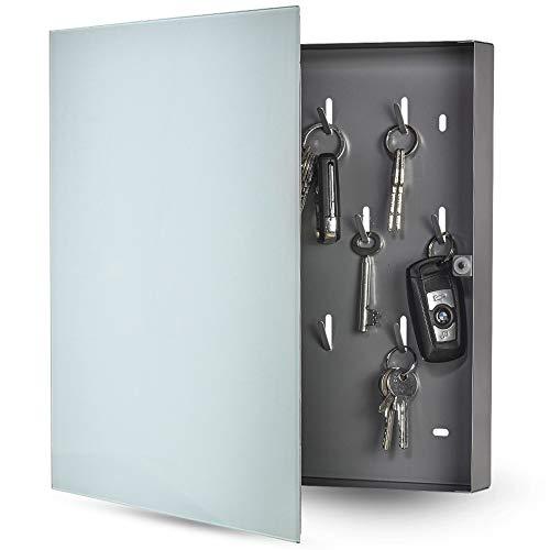 bonsport Schlüsselkasten mit Glas Magnettafel - Memoboard inkl. 6 Magnete, 35 x 35 x 4 cm - weiß
