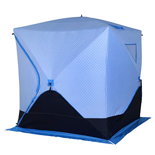 Outsunny Portable 2-4Person Pop-up Ice Shelter Insulated Ice Fishing Tent with Ventilation Windows and Carry Bag