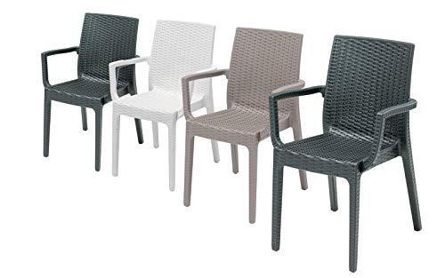 4 Sedie in rattan da esterno, modello Aurora, con braccioli, per salottino da esterno, sedie impilabili, Design Made in Italy, 55x54x85 cm, disponibili in colore Antracite, Tortora o Bianco.