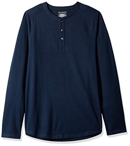 Amazon Essentials - Camiseta ajustada Henley de manga larga para hombre, Azul (Navy), US L (EU L)