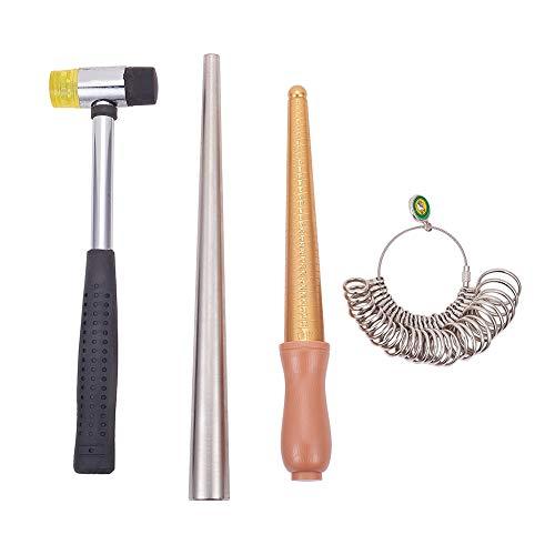 PandaHall Elite Messingring-Vergrößerungswerkzeug-Sets, 11-22 mm Ringgrößen-Profi-Modell, Ringvergrößerungsstift-Dorngrößen-Werkzeug, Ringgrößenstifte mit Griff und Kunststoffhämmern