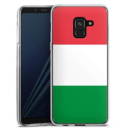 DeinDesign Silikon Hülle kompatibel mit Samsung Galaxy A8 Duos 2018 Hülle transparent Handyhülle Italien Flagge Flaggen