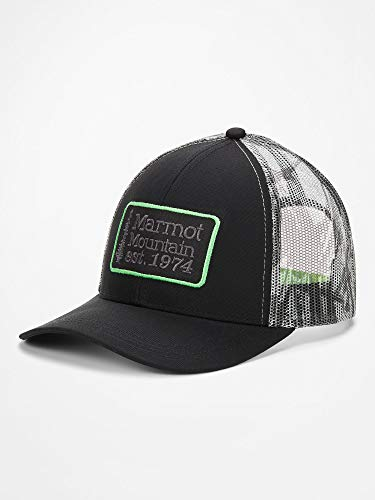 Marmot Herren Retro Trucker Kappe, Black/Racing Stripes, ONE