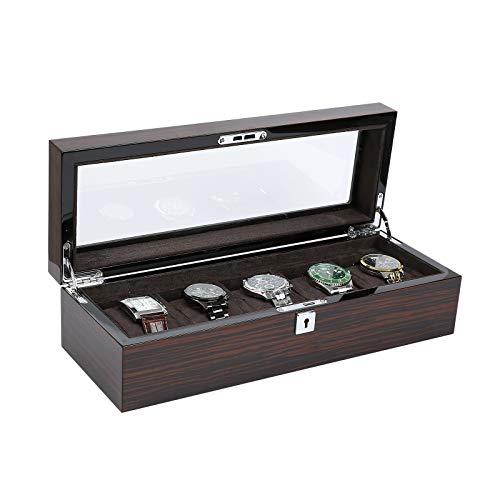 LASE C9 Relojero, Caja/Estuche para Guardar Relojes y Joyas. Organizador con 5 Ranuras Acabados. Varios Compartimentos. Interior Forrado. Evita pérdidas y roturas de Relojes. Unisex (15)