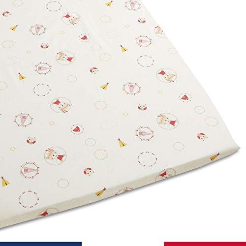 Atelier de Morphée Drap Housse pour couffin bébé Tipi Rouge - Ovale, 30x70