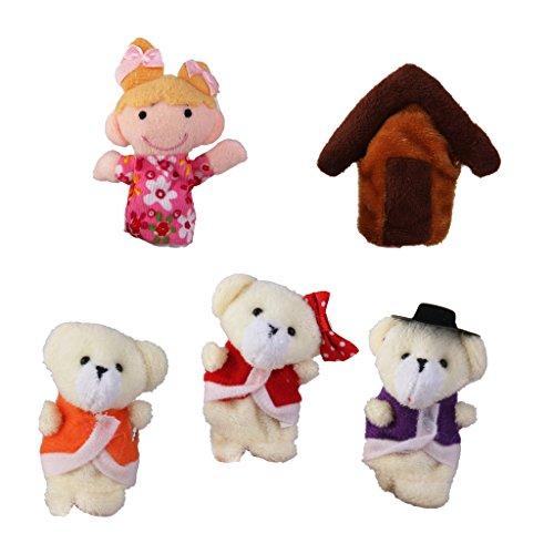 F Fityle Niños Marionetas de Dedo Divertido Felpa Animal Familia Muñecas Juguetes Historia Bolsa de Fiesta Rellenos - Ricitos de Oro y Tres Osos (5 pcs)