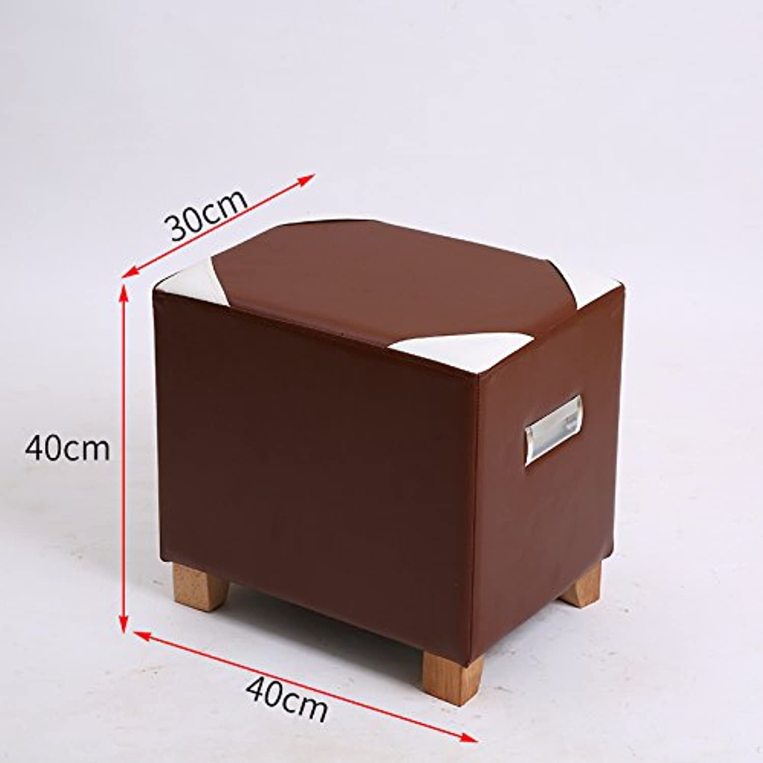 Dana Carrie Stool Stylish Creative Sofa Chair Leather Tun Living Room Fabrics for shoes is Simple and Modern Wooden Sitting on a Low stool,PU Brown