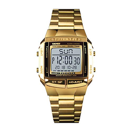 SKMEI Digitaluhr, Sportuhren wasserdichte Outdoor-LED-Armbanduhr für Damen und Herren (Gold, OneSize)