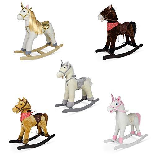 Infantastic Cavallo a Dondolo - Animale a Scelta, in Peluche e Legno, Effetti Sonori, Nitrito e Galoppo, per Bambini di 1 Anno - Peluche a Dondolo, Unicorno, Cavalluccio, Cavallino per Bambini