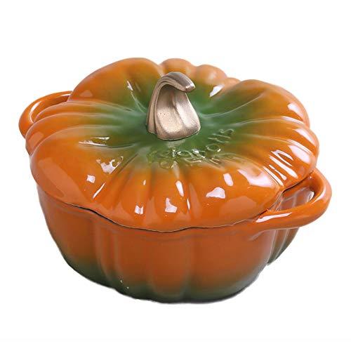 Cocotte Potiron En Fonte Casserole Émaillée Marmite 24cm Pot à Soupe 3.76L,Orange