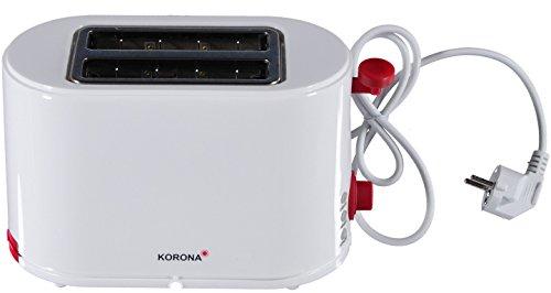 Korona Toaster 21150 2 Schlitz, Kunststoff, weiß/rot, Brötchenaufsatz, Krümelschublade 800 W