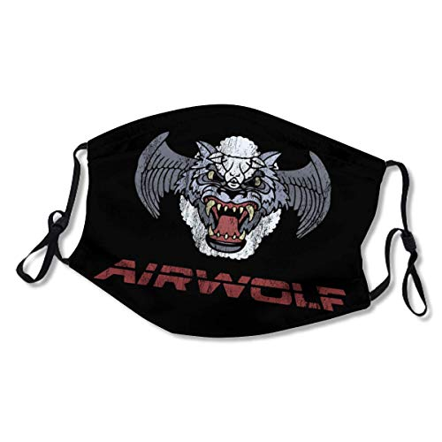 Airwolf Logo XL Face Mask Dust Mask Filter Pocket Face Coverings Layers Reusable & Washable (2 Filters) White